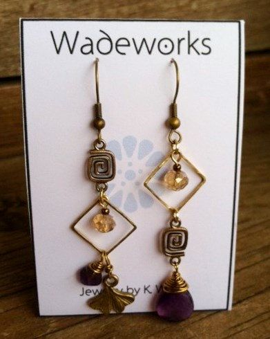Asymmetrical Boho Earrings Amethyst and Ginko by Wadeworks on Etsy, $22.00