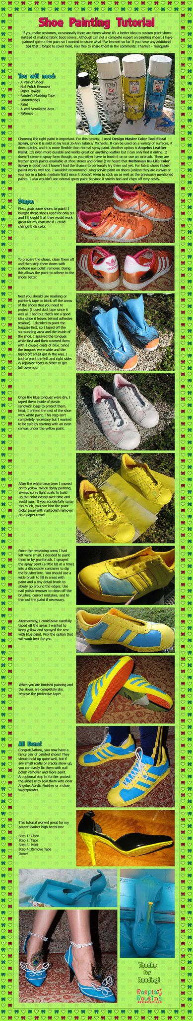 Shoe Painting Tutorial by CosplayCousins on deviantART I really need to find something that doesn't crack! Suggestions??