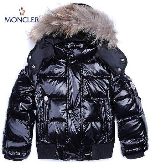 Moncler Kid Fur Collar Down Jacket Black - :