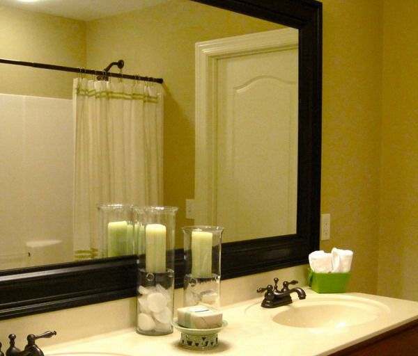 The Awesome Web Frame out the master bath mirror