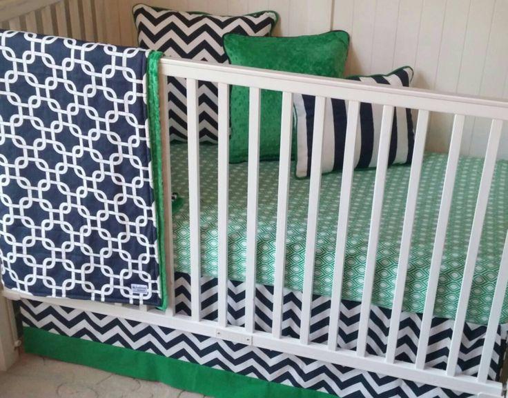 Baby boy crib bedding set navy blue lime green and gray - Navy blue and green bedding ...