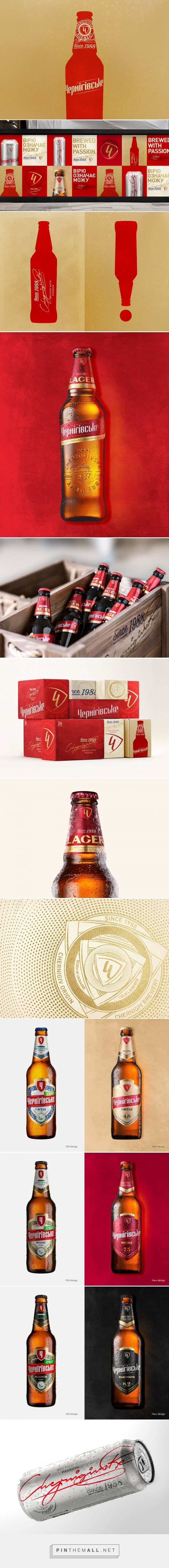 Chernigivske beer packaging design by Reynolds and Reyner - http://www.packagingoftheworld.com/2017/12/chernigivske.html