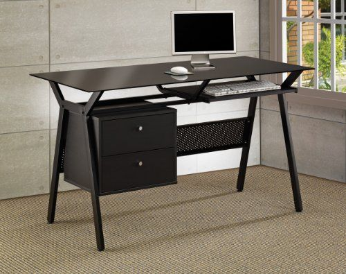 the simple stores metal and glass computer desk with two. Black Bedroom Furniture Sets. Home Design Ideas