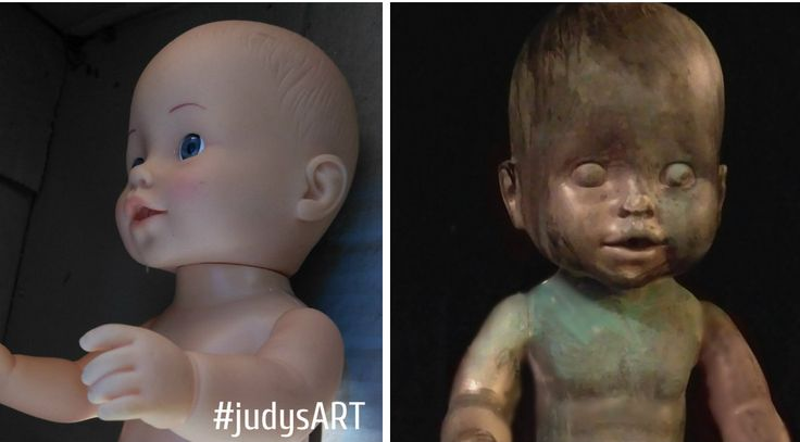 Verdigris Finish Faux Outdoor Stone Baby Statue. Recycle DIY Repurposing upcycling judysART Objet trouvé junkart