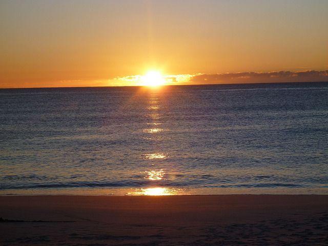 Sunrise over the sea at Bay of Fires, Tasmania