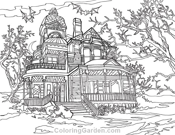 Free printable haunted house adult coloring page. Download