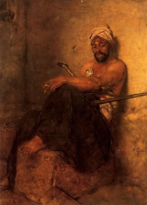 """An oriental guard smoking"", Nikolaos Gyzis (1842-1901). #orient #soldier"