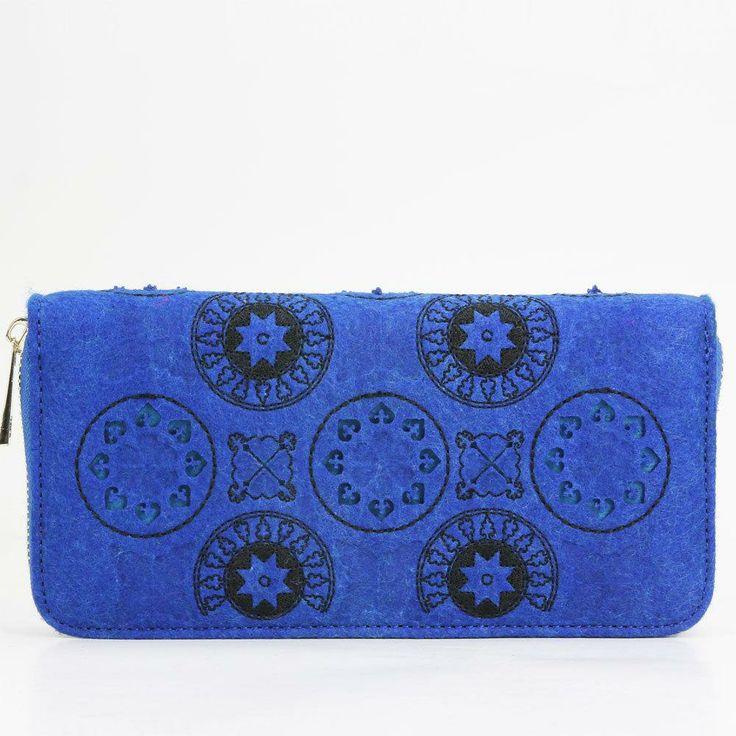 2087 designer Sapphire blue felt zip around wallet
