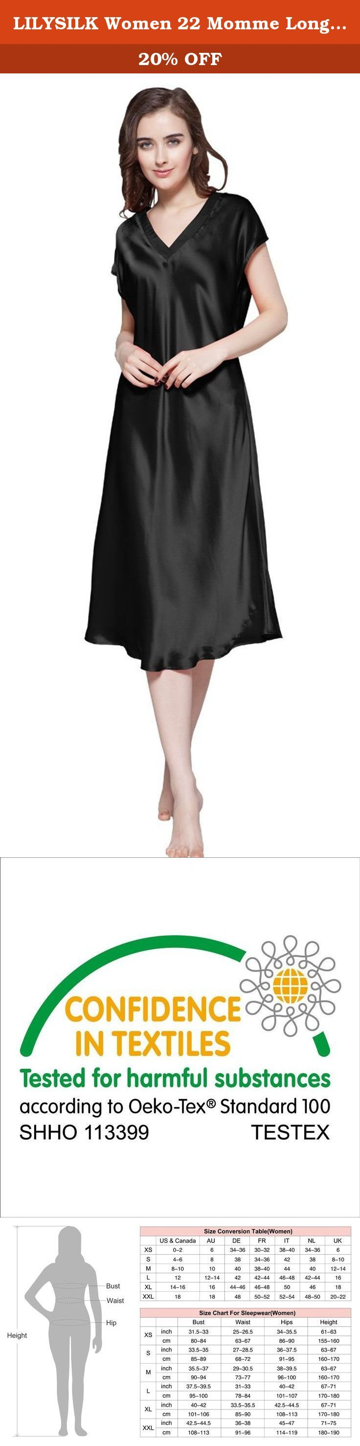 LILYSILK Women 22 Momme Long Silk Nightgown Nightdress 100% Pure Silk Black XL. Unique and stylish, this free style nightwear adds sophistication to summer sleepwear, which is just as cozy as it is comfortable. With cool style and luxurious color, this silk nightgowns is truly a work of art. Exquisitely details of this long silk nightgown are only for you, who have the best tastes. Pajama Features: 100% mulberry silk Durable stitching that will last Material: 100% silk of 22 momme silk...