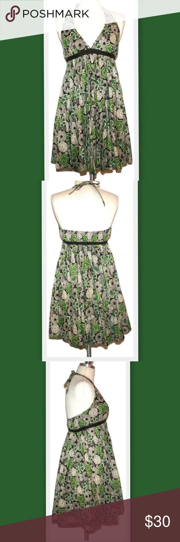 """Susana Monaco Babydoll Cotton Halter Dress Susana Monaco dress.  Halter style with an empire waist.  Extra full forgiving skirt, could easily be worn as a maternity dress.  Ties at the neck.  Elasticized on the back.  Green, off-white and brown floral print.  Lined at the bust, skirt portion is unlined.  100% cotton  Marked size 4 Length from top of bust 29"""" Susana Monaco Dresses Backless"""