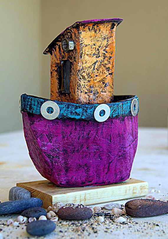 Eco friendly Gift Paper Mache Little Boat Paper Ship by irineART