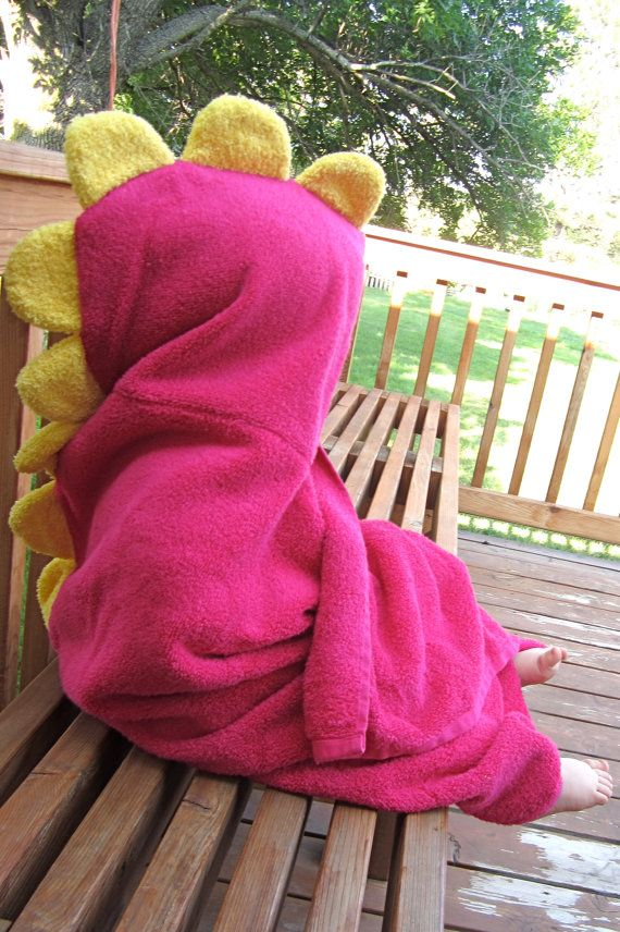 adorable girly hooded dinosaur towel for toddlers
