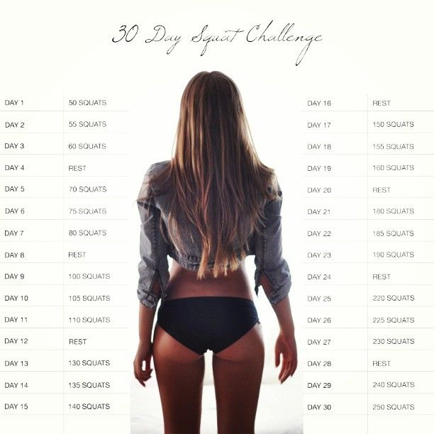"""30 day squat challenge.   a pinner says: """"I'm only on day three and I think my butt is falling off."""""""