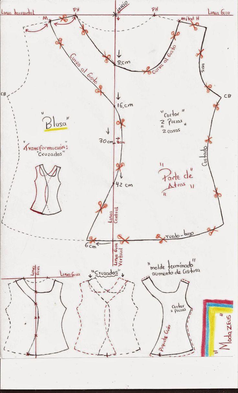 forma de transformar una blusa basica en diseño cruzada.! aprende y crea..! #moda #blusas #modazeus #moldes