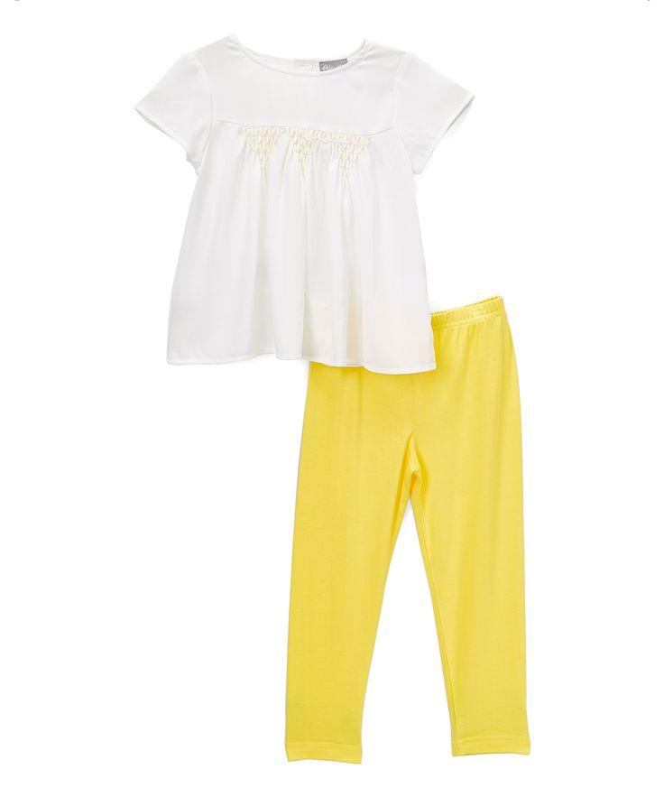 White & Yellow Smocked Top & Leggings - Girls