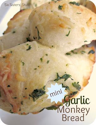 monkey breadMinis Garlic, Side Dishes Recipe, Garlic Monkeys Breads, Breads Recipe, Recipe Dinner, Garlic Bread, Bread Recipes, Six Sisters Stuff, Sixsistersstuff Com