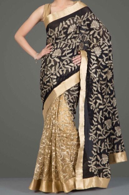 Black Chiffon and Gold net saree with floral embroidery