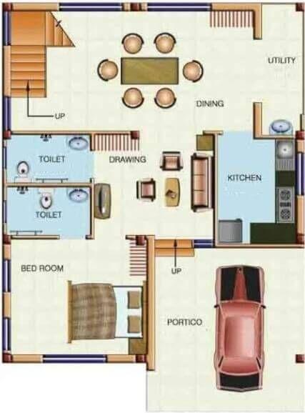 2 bedroom house designs in india 48  Gallery One Duplex Floor