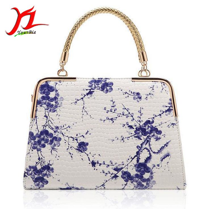 New Female Chinese Style Blue White Porcelain Floral Print National PU Leather Shoulder Doctor Bag Ladies Grace Handbag