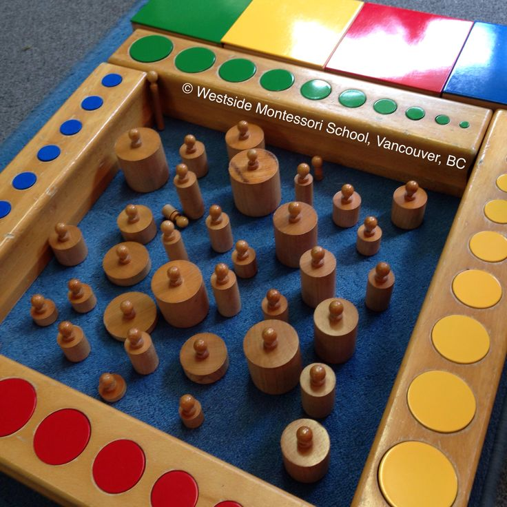 Sensorial Extension with the Montessori Knobbed Cylinder Blocks and the Knobless Cylinders! Such creativity and sense of order.