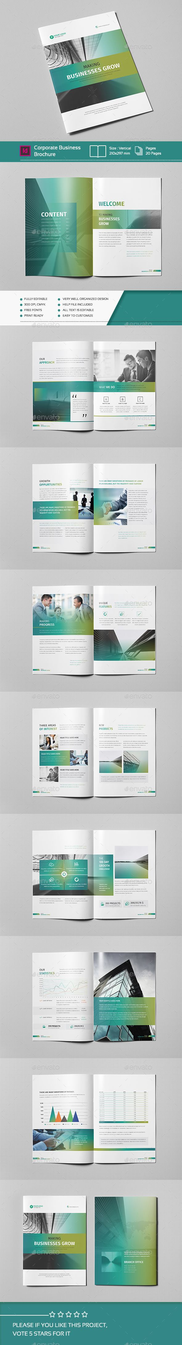 Corporate Business Brochure 20 Pages A4 Template Indesign Indd Design Download Http