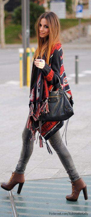 fringed sweater + brown heeled lace up booties fall winter fashion