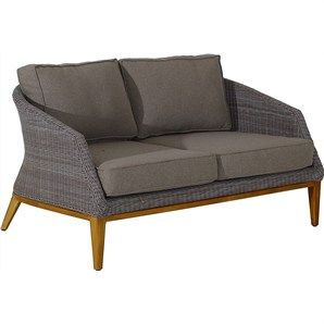 Sofia Wicker 2 Seater Indoor/Outdoor Sofa with Teak Timber Legs and Fabric Cushions