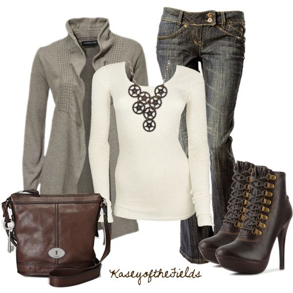 Casual Outfits - t-shirts, cardigans, jeans, boots, crossbody bags, necklaces