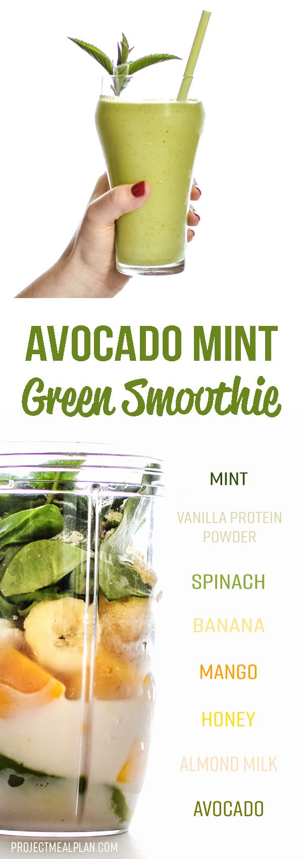 Creamy Avocado Mint Green Smoothie Recipe - Overflowing with fruits, veggies, and fresh minty goodness, like a summer shamrock shake! - ProjectMealPlan.com