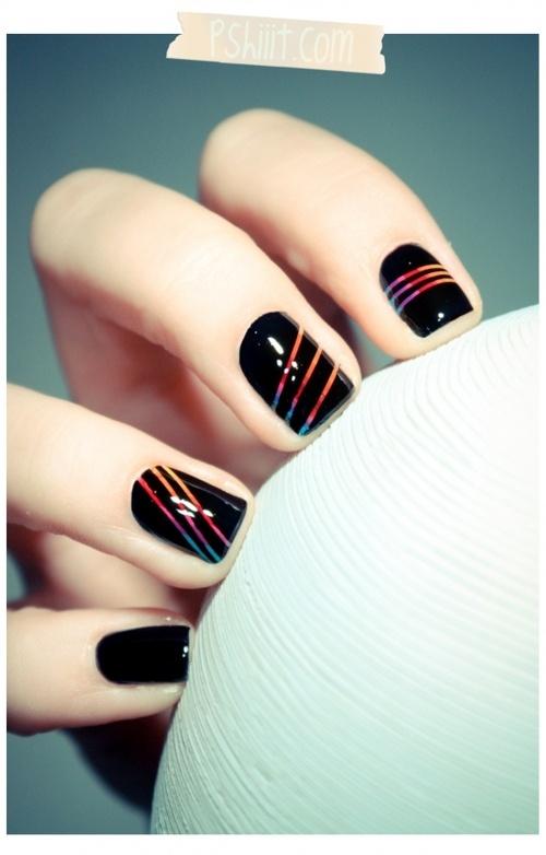 Nails.Nails Art, Nails Design, Nailpolish, Vibrant Colors, Black Nails, Nails Polish, Stripes, Rainbows Nails, Nails Tutorials