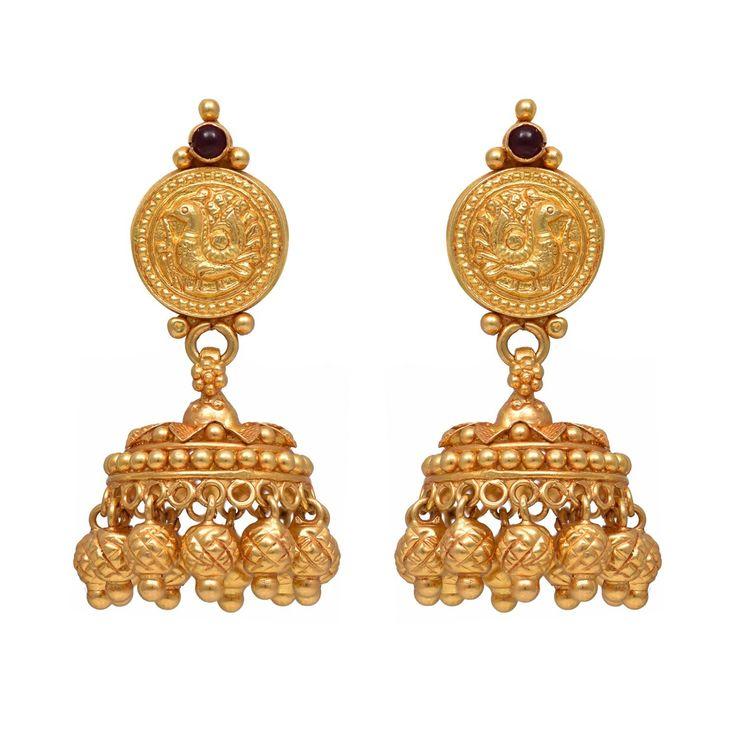 joyalukkas 22k Yellow Gold Jhumki Earrings