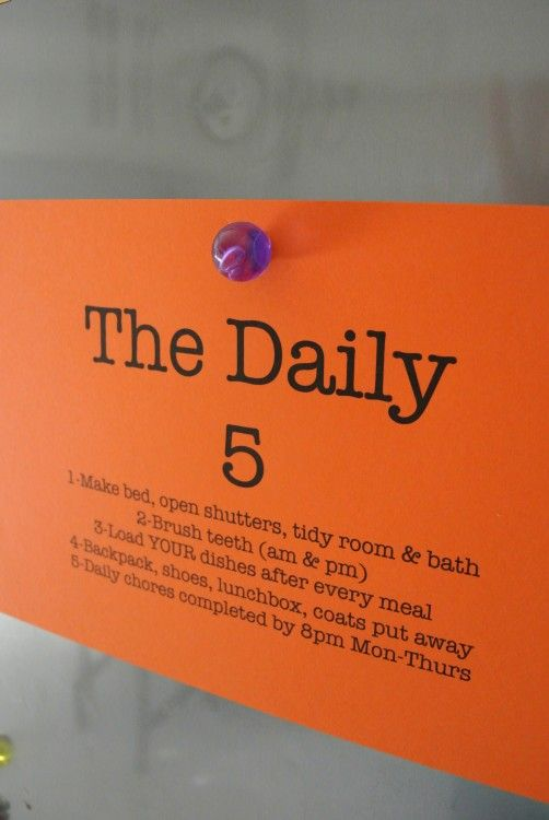 The Daily Five - keeps things simple for kids and keeps your home more organized!