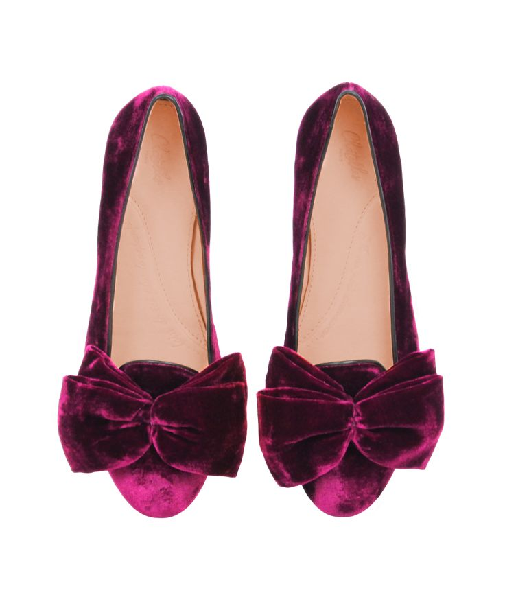 Slippers Virgile velours pourpre noeud plat ballerine - Chatelles Chatelles