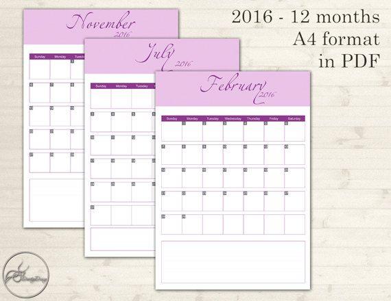 Printable Monthly Calendar 2016, Digital Calendar 2016, Prints Calendar, Calendar Printable, Calendar Download, Calendar Print, Calendar PDF