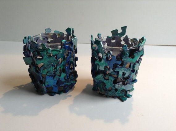 Teal Jigsaw Puzzle Candle Holder by SJPuzzles on Etsy