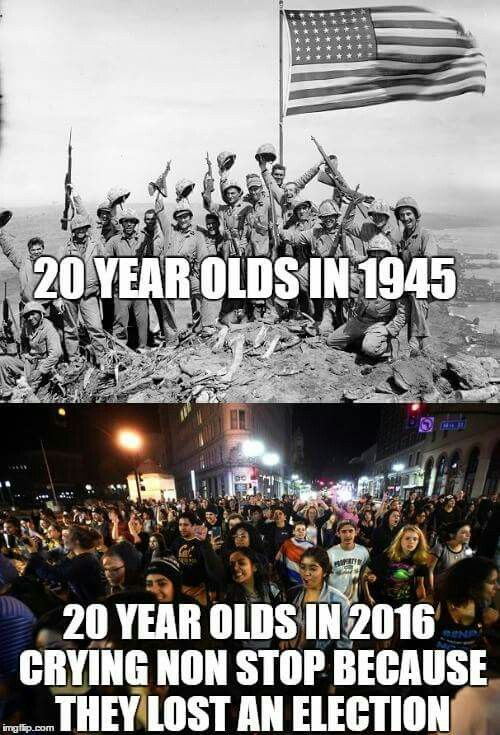 That's why they are the Greatest Generation, and ours is the Snowflake generation.