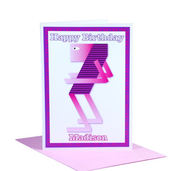 7th unique Happy Birthday card for girls edit name by stuartconcepts on #Etsy #greeting_card #pink