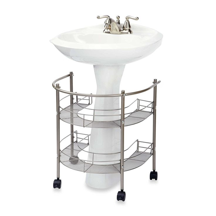 Bathroom storage -Chrome shelving unit made to fit around an existing pedestal sink.