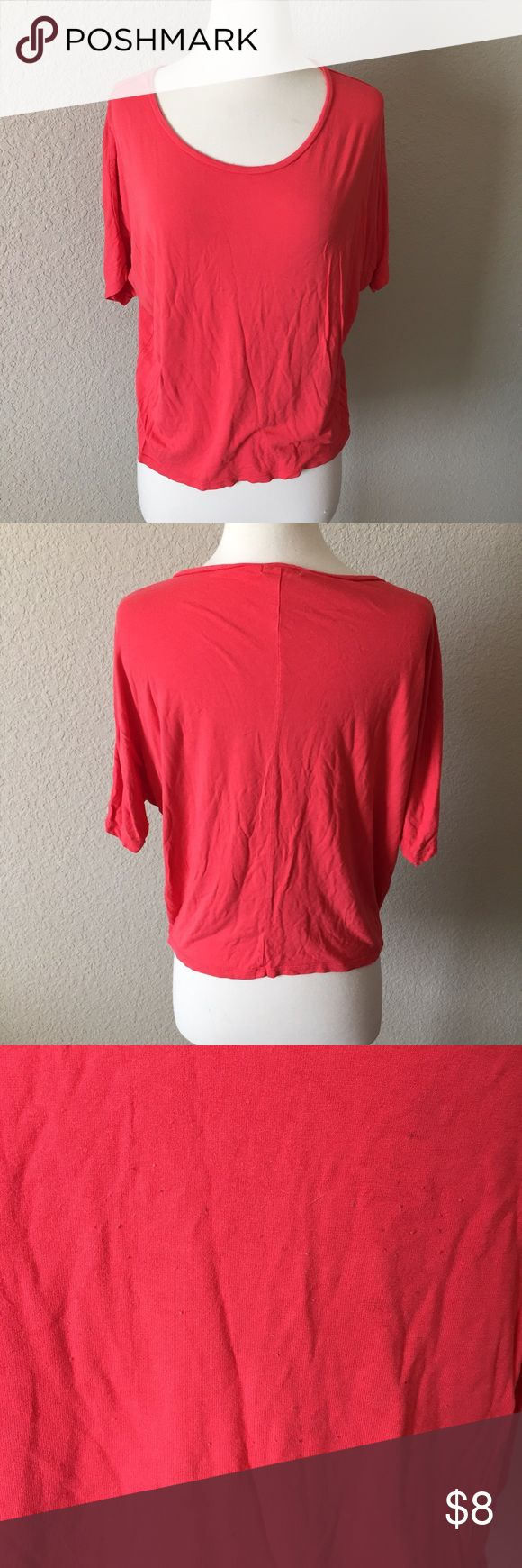 Red Batwing Top (77) Bright red top with short batwing sleeves. Tag size large but best fits a small. Piling on the front. Old Navy Tops Tees - Short Sleeve