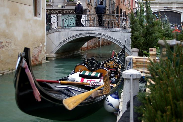 Gondolier's taking a break. Venice 2 day stop on Crown Princess Cruise.