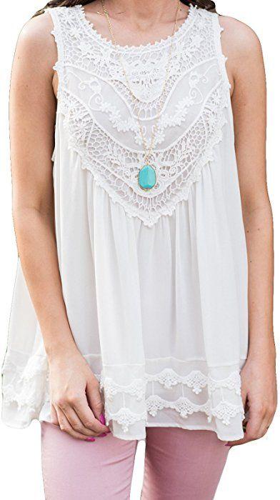 250a9a6e83173 POGTMM Women s Summer Casual Sleeveless Lace Tops Lace Trim Tunic Tops  Chiffon Blouses (XL(16-18)