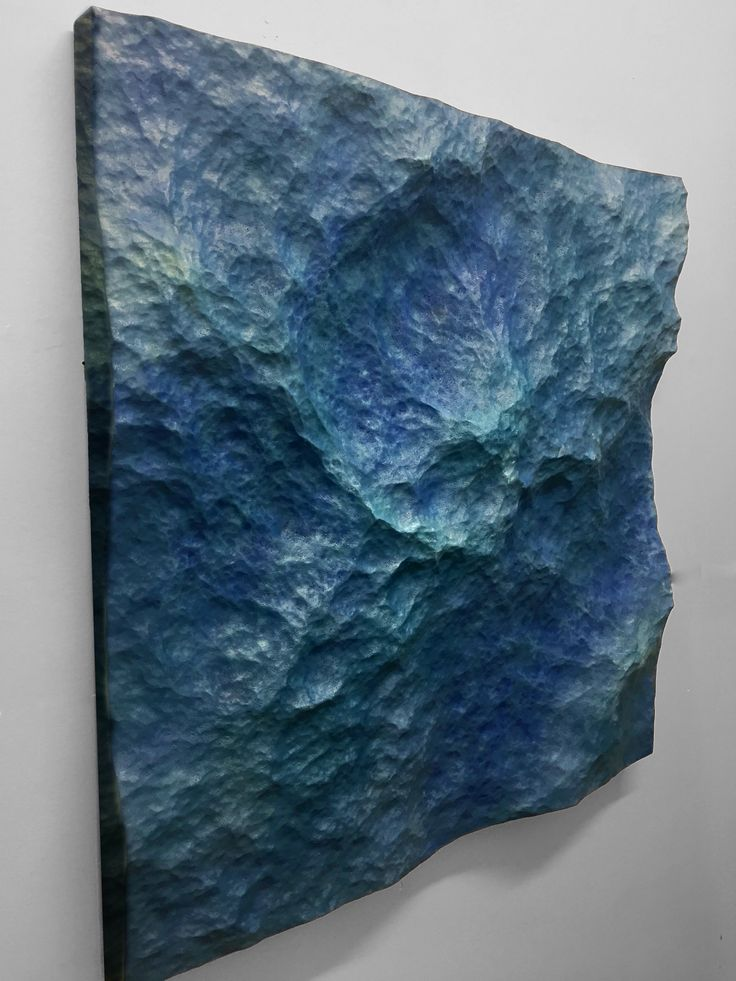 """3D sculpture, """"Etched in time"""". This series captures the motion of waves frozen in time. 600x600 mm  Oil on wood. #3d #digital art #sculpture #ocean #wallart #milling #belindagriffiths"""