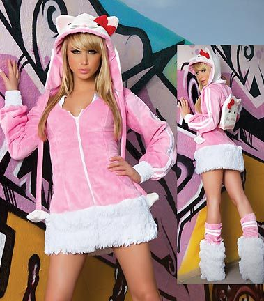 Hello Kitty hoodie!! I'd probably wear pants tho...looks a bit chilly:) #pink #hellokitty