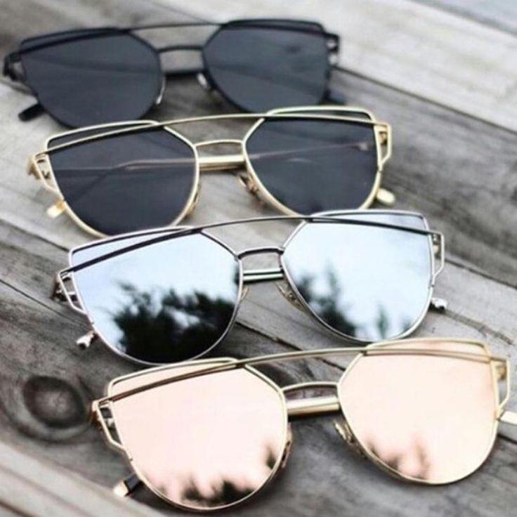 Cheap Designer Cateye Mirrored Lenses Oversized Sunglasses Reflective Mirror - 2018 Classic Summer Trend Trending www.GlamantiBeauty.com
