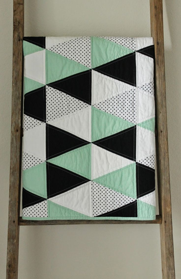 triangle quilts in black & white | mint and licorice :: a baby quilt.