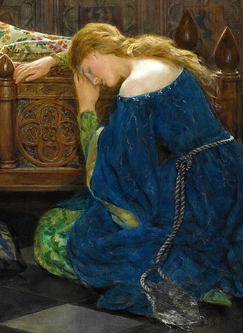 ⊰ Posing with Posies ⊱ paintings of women and flowers - The Sleeping Beatuy (detail) by John Collier (1850-1934)