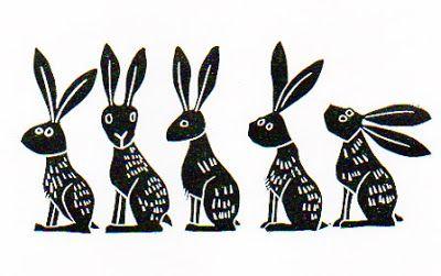 """Line of Hares"" linocut by Melanie Wickham.http://www.etsy.com/uk/people/melaniewickham?ref=owner_profile_leftnav Tags: Linocut, Cut, Print, Linoleum, Lino, Carving, Block, Woodcut, Helen Elstone, Rabbits, Hares, Animals."