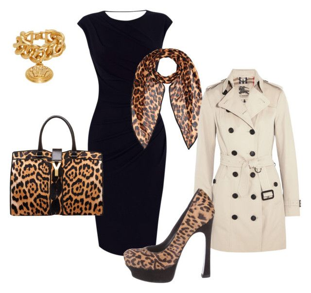 eveberry leopard by ouanda on Polyvore featuring polyvore, fashion, style, Oasis, Burberry, Yves Saint Laurent, Versace and clothing