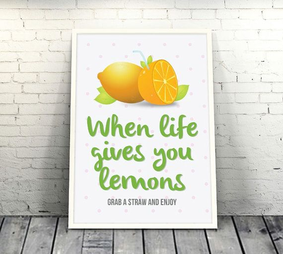 When Life Gives You Lemons Inspirational Quotes by loveunlimited #quote #unique #design #loveunlimited #lemons #colorful #handmade #inspiration #picture #cover