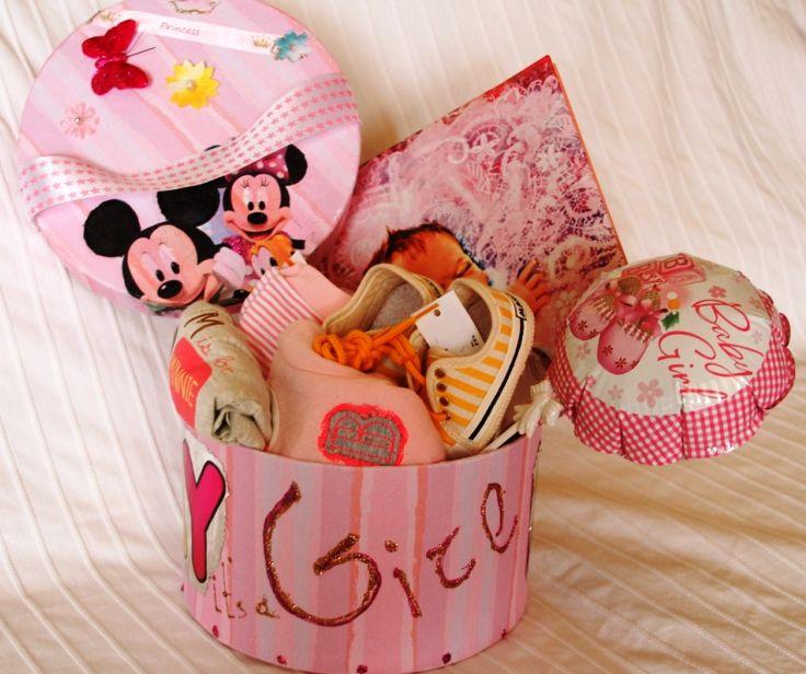 Girl birthday box I made with decoupage Κουτι για γεννηση κοριτσιου με ντεκουπαζ